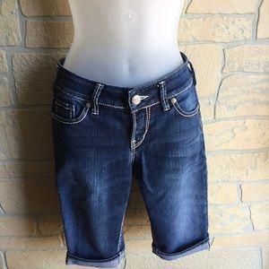 Women's Silver  jean Bermuda shorts waist 26